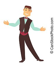 Croupier man or casino poker dealer vector isolated icon -...
