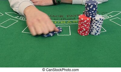 Croupier Spreading Out Poker Chips in 4k