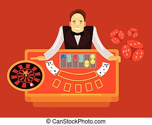 Croupier vector flat illustration
