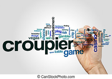 Croupier word cloud concept on grey background