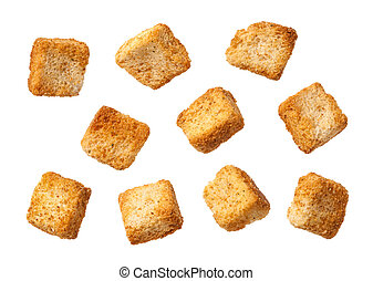 Croutons isolated on a white background.