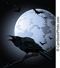 Halloween Crow sitting and croaks against a full moon