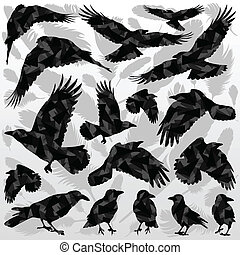 Crow and feathers silhouettes illustration collection