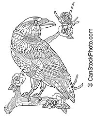 Crow bird coloring book for adults vector illustration. Anti-stress coloring for adult. Tattoo stencil. Zentangle style. Black and white lines. Lace pattern
