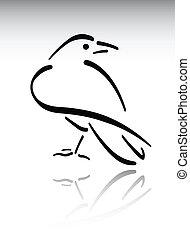 Crow - Black brush stroke raven on simple background.