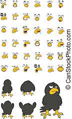crow cartoon set in vector format