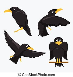Crow Cartoons - vector set of cartoon crows