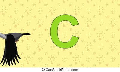 Crow. English ZOO Alphabet - letter C - Animated English...