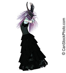 Crow Lady - Digitally rendered illustration of a gothic girl...