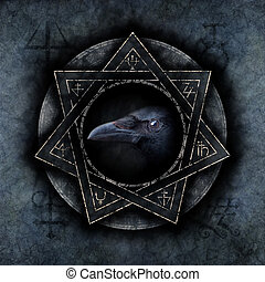 Crow Magic with a sinister crow head materialising within an...
