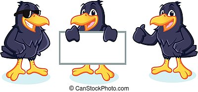 Crow Mascot vector happy, pose and bring board