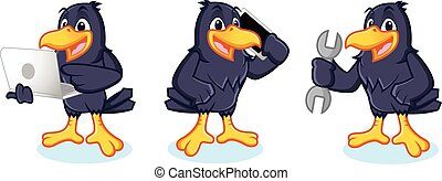 Crow Mascot with phone