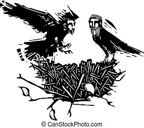 Crow nest of men - Woodcut style expressionistic crows with ...