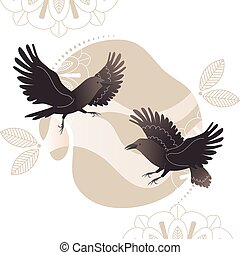 Crow on decorated background in boho style, flying raven vector illustration