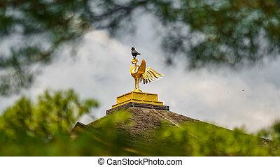 Crow on top of Golden pavilion temple cockerel