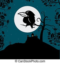 Crow on Tree Branch with Full Moon and Spooky Castle Night Vector Illustration