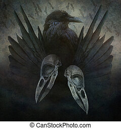 Crow head, skulls, black wings and bird flock in flight emerging from a dark, sinister atmospheric background.