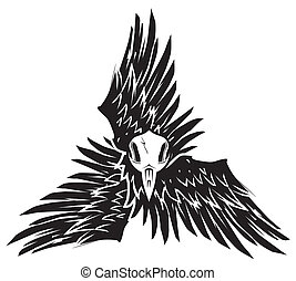 Crow Triskelion - Tri-winged icon with bird skull