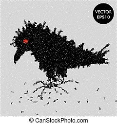 Crow Vector Illustration. Raven Character. Abstract Black Bird Background. Spotted texture.