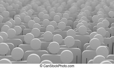 crowd, 3d animation. seamless loop