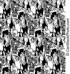 Crowd active happy  people seamless black pattern