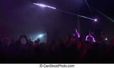 Crowd and DJs dancing during party