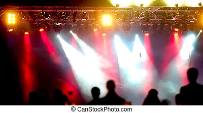 crowd and spotlights