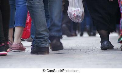 Crowd Anonymous People Walking on the Street. Crowd Feet.