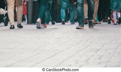 Crowd Anonymous People Walking on the Street. Crowd Feet