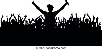 Crowd at a musical concert, singer with microphone, silhouette