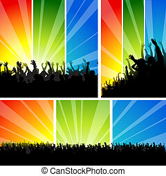 Crowd at the Concert Set - Background Illustration, Vector