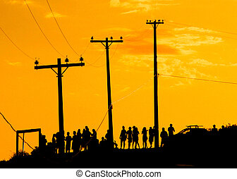 Crowd at the sunset