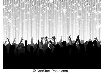 crowd, auf, der, party