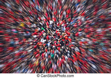 Crowd Blur - Aerial of thousands of people in a crowd at a...
