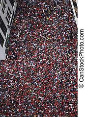 Crowd Celebrates at Parade - Huge crowd during celebratory...