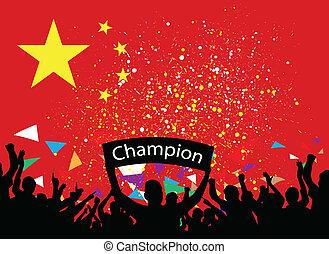 crowd cheer China