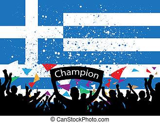 crowd cheer greece