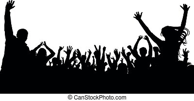 Crowd cheer people silhouette. Applauding audience, vector. Concert, party