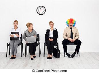 crowd, -, clown, eins, arbeit, there's, jedes, kandidaten