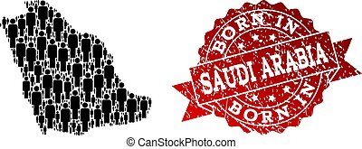 Crowd Collage of Mosaic Map of Saudi Arabia and Textured Born In Stamp