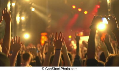 Crowd concert phone hand - Footage of a crowd partying at a...