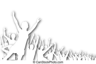 Crowd cutout silhouette