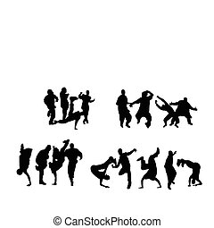 Crowd dancing - Silhouette of boys and girls dancing on...