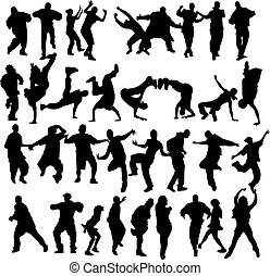 Crowd dancing - Huge crowd of dancers silhouettes with...