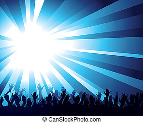 Crowd - Illustration of a burst of bright blue light over a...
