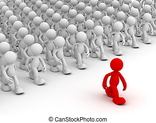 crowd following leader isolated 3d illustration - human ...
