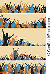 Crowd foregrounds - Set of colorful editable vector crowd...