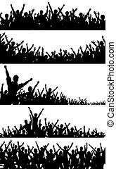 Crowd foregrounds - Set of editable vector crowd silhouettes...