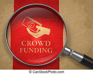 Crowd Funding Concept. Magnifying Glass with Icon of Money...