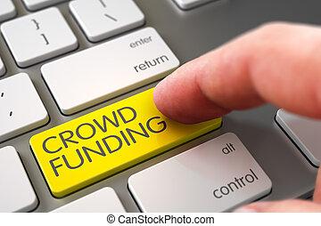 Crowd Funding - Modern Laptop Keyboard Concept. 3D.